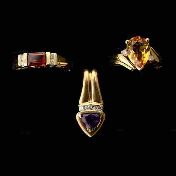 3 MULTI-STONE, DIAMOND, YELLOW GOLD JEWELRY ITEMS.