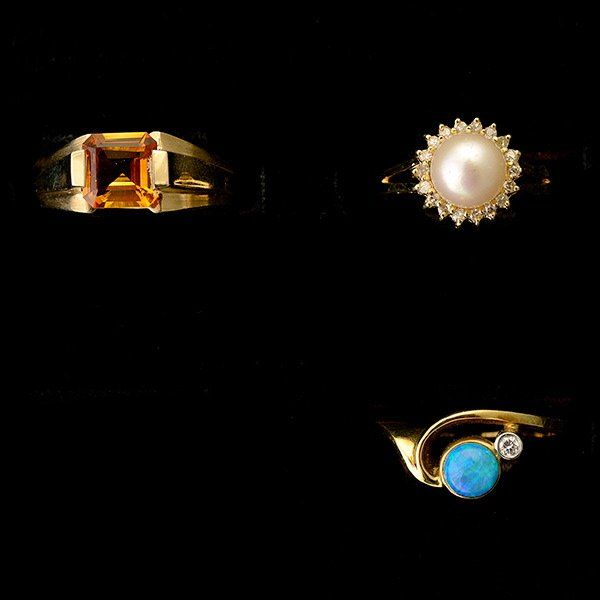 THREE MULTI-STONE, DIAMOND, YELLOW GOLD RINGS.