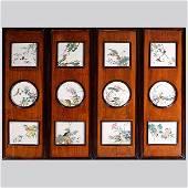 A Set of 12 Famille Rose Porcelain Plaques, 19th C.