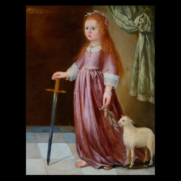 17th C. Portrait of a Girl with a Lamb and Sword