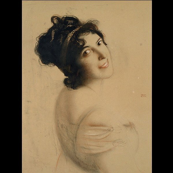 FRANZ VON STUCK, Pastel Portrait of a Woman