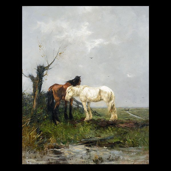 JOHANN SCHERREWITZ Dutch Oil on canvas Horses