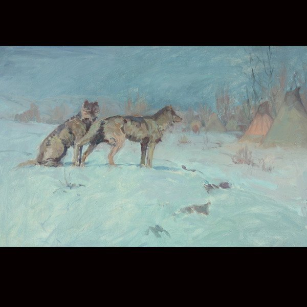 WILLIAM GOLLINGS Wolves Stalking Indian Encampment