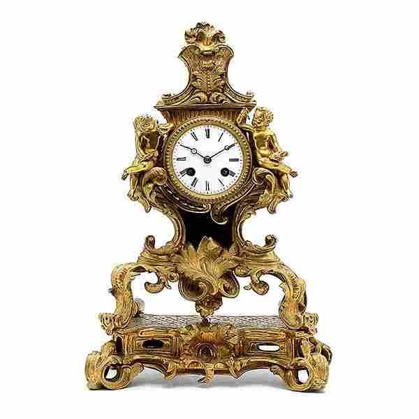 Louis XV Style Gilt Bronze Mounted Clock