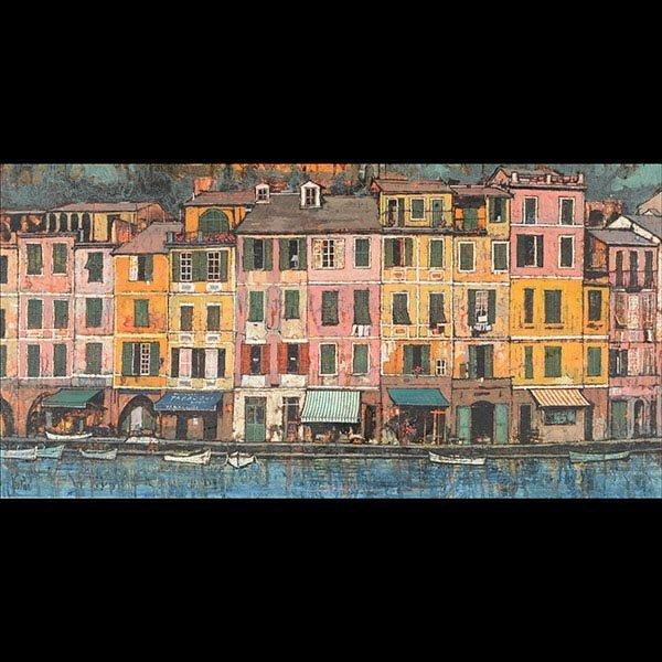 JOHN LENTINE Italian Fishing Village Oil on Canvas