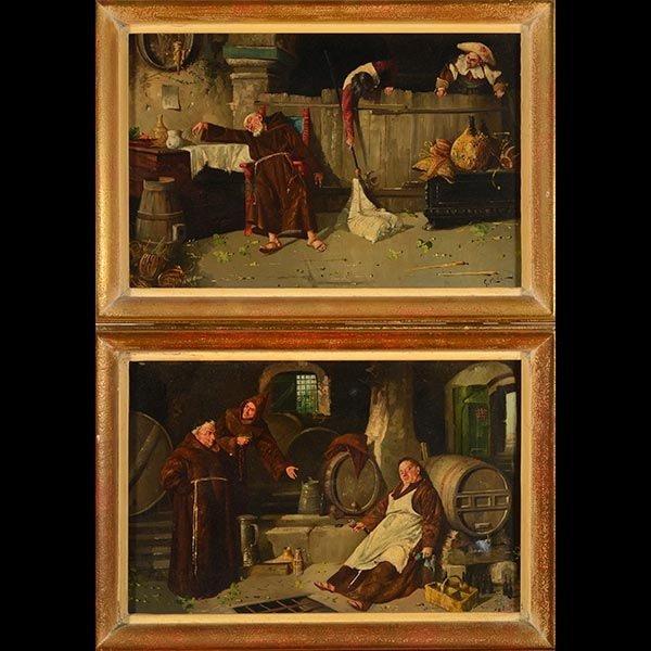 """ITALIAN SCHOOL """"Drunk Monks"""" Oil on Canvas"""
