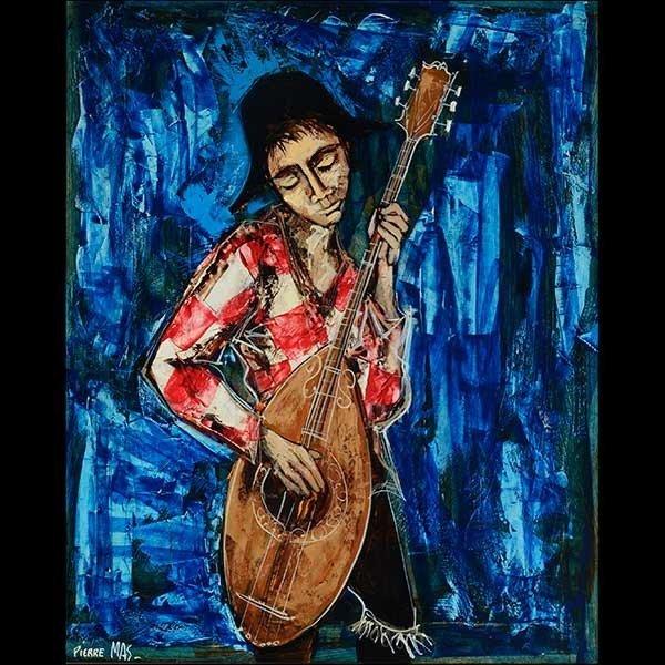 """PIERRE MAS """"The Musician"""" Oil on board."""
