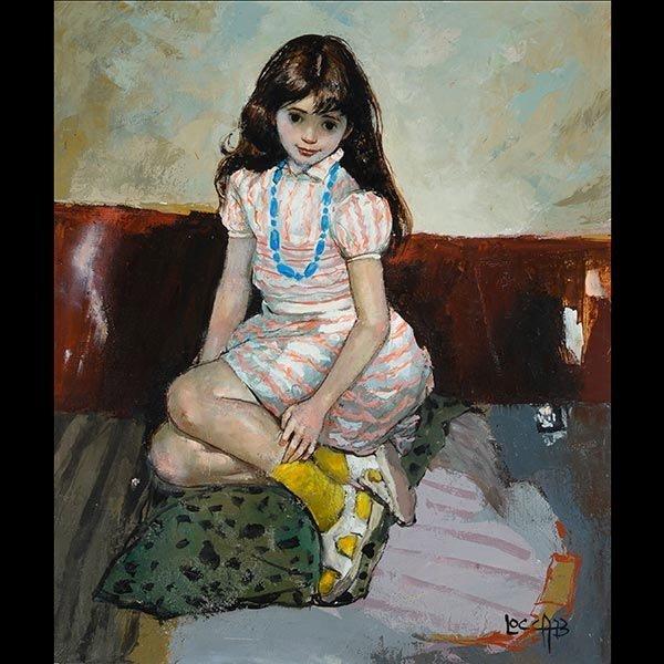 "ALBERT LOCCA ""Portrait of a Girl"" Oil on Canvas"