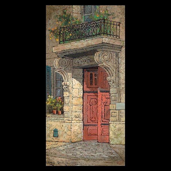 """EDWIN DEAKIN """"European Building"""" Oil on canvas"""