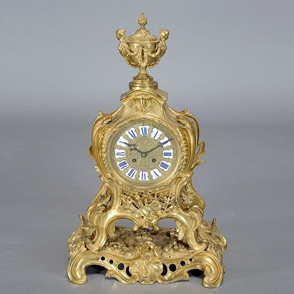 Louis XV Style Gilt Bronze Clock,