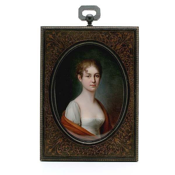 Framed English Regency Porcelain Plaque of a Lady