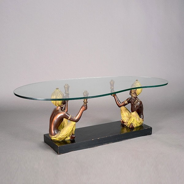 Table with Two Blackamoor Figural Supports
