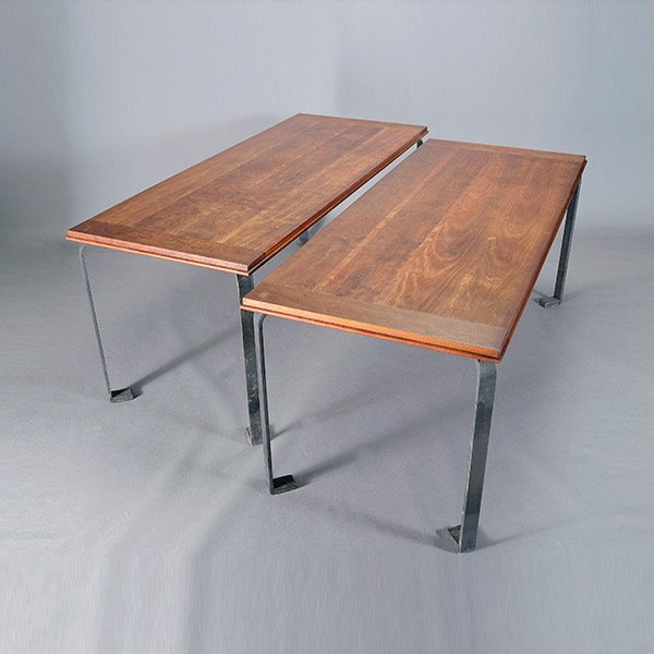 Pair of Modern Tables with Iron Legs.
