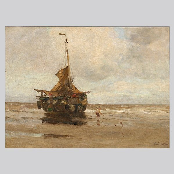"""Charles P Gruppe """"Beached Boat"""" Oil"""