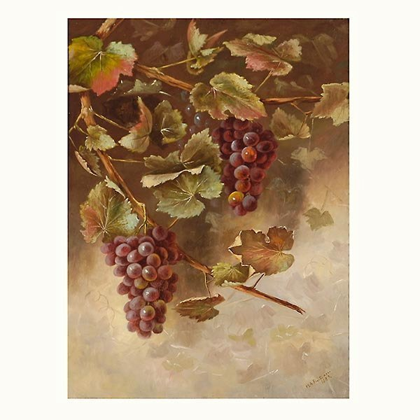 """Helen Buteau """"Still Life with Grapes, 1889"""" Oil"""