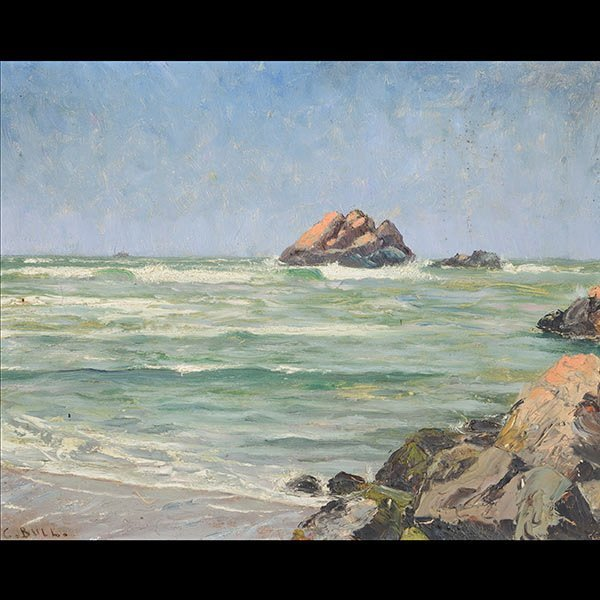 Early California Seascape with ornate frame