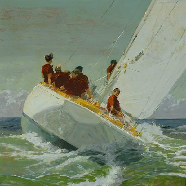 """GEOFFREY LEWIS """"Sailing in Rough Waters"""" Oil"""