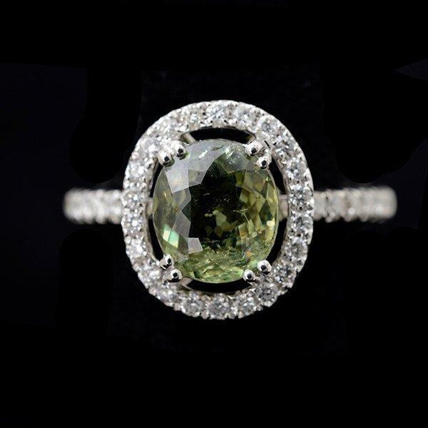 Demantoid Garnet, Diamond, 18k White Gold Ring.