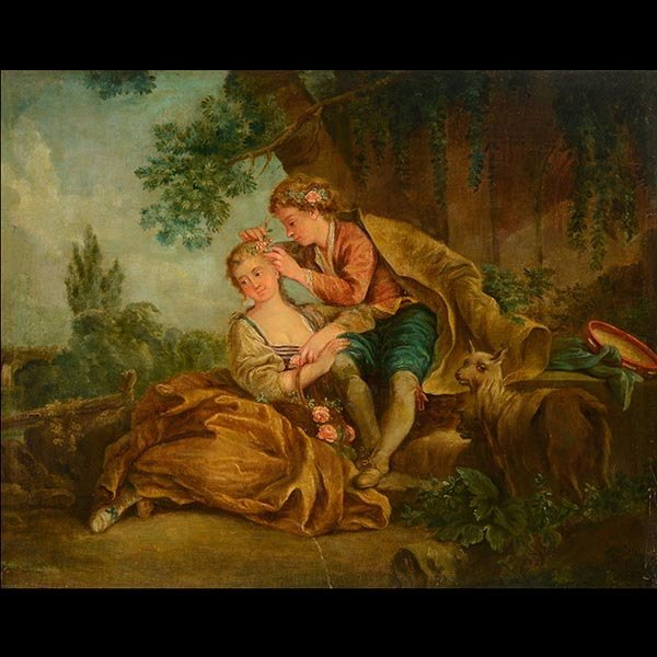 """18th Century FRENCH SCHOOL""""Young Lovers"""""""