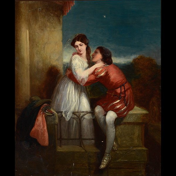 """STYLE of WILLIAM POWELL FRITH """"Lovers"""" oil"""