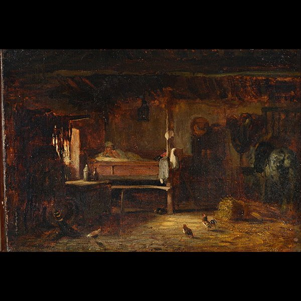 JULES DUPRE Interior Scene Oil