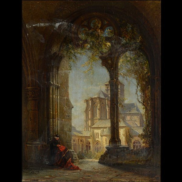 F. HEGMANN Cathedral Ruins Oil on Canvas