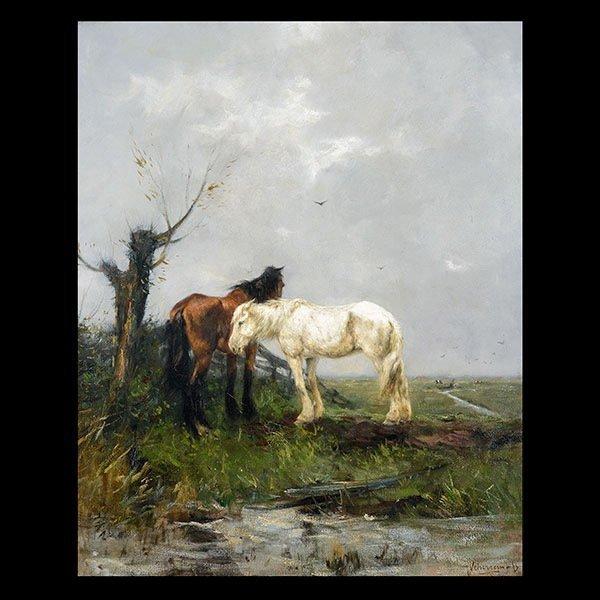JOHANN SCHERREWITZ Dutch Oil on canvas Horses