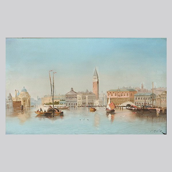 """Frantisek Herink """"Venice"""" Oil, Early to Mid 20th C"""