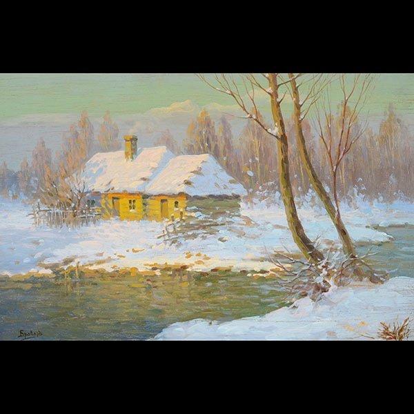 """Jakov Brovar oil """"Landscape in Snow"""""""