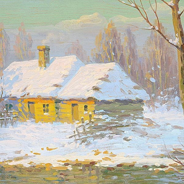 "Jakov Brovar oil ""Landscape in Snow"" - 3"