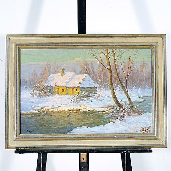 "Jakov Brovar oil ""Landscape in Snow"" - 4"