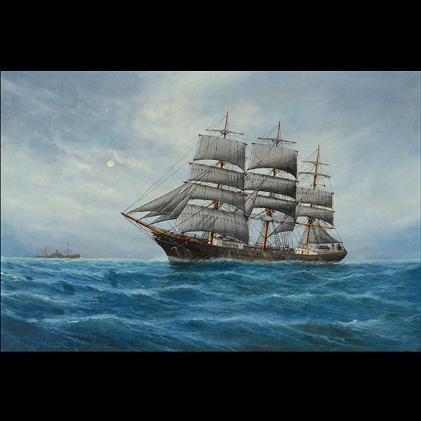 """LOUIS L. PAPALUCA """"A Clipper with Moon"""" oil"""