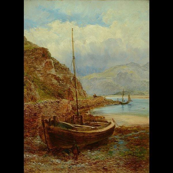 J CHRISTMAS THOMPSON Welsh Harbor Oil on canvas