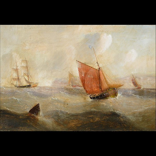 "EDWARD REDMORE ""Danger at Sea"" Oil on canvas"