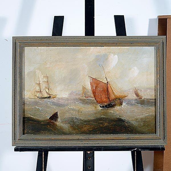 "EDWARD REDMORE ""Danger at Sea"" Oil on canvas - 4"