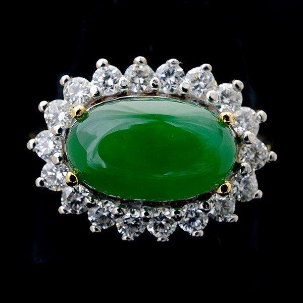 Jade, Diamond, 14k Yellow Gold Ring.