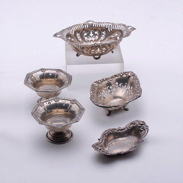 Five Small Art Nouveau Sterling Table Articles: