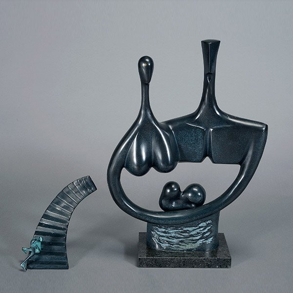 Two Bronze Abstract Sculptures