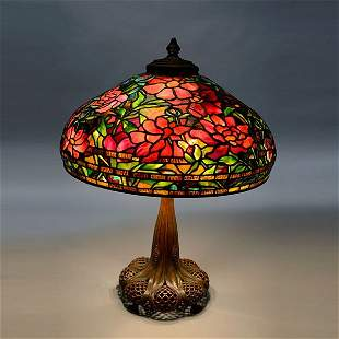 Tiffany Studios Peony Table Lamp On A Reticulated Base.