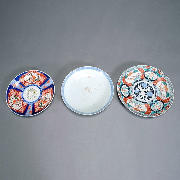 Three Japanese Porcelain Chargers, 19th Century