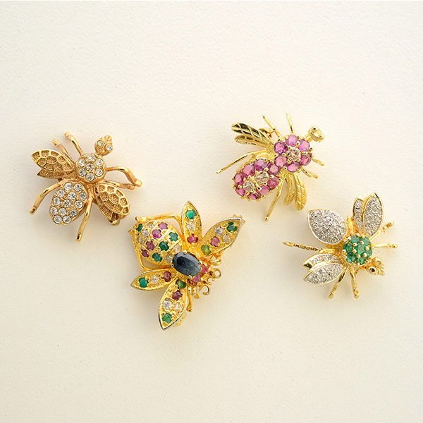 Four Multi-Stone, Diamond, Gold, Metal Brooches.