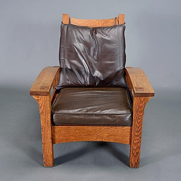Gustav Stickley Bow Arm Morris chair - 2
