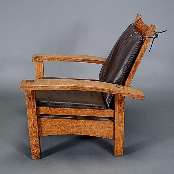 Gustav Stickley Bow Arm Morris chair - 3