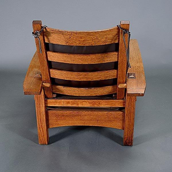 Gustav Stickley Bow Arm Morris chair - 4