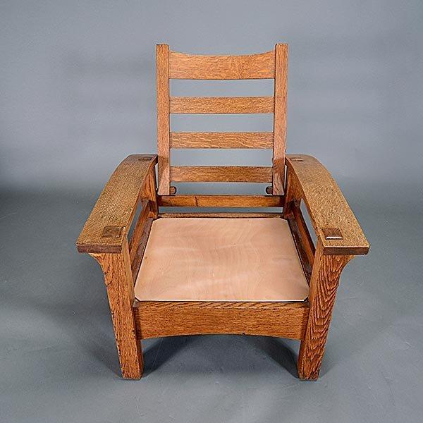 Gustav Stickley Bow Arm Morris chair - 6