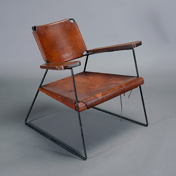 Rod Iron & Leather Side Chair.  Wood Arms California
