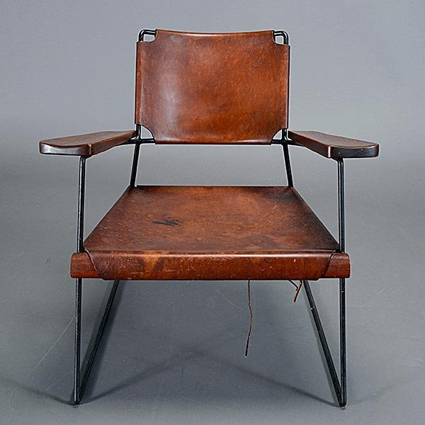 Rod Iron & Leather Side Chair.  Wood Arms California - 2