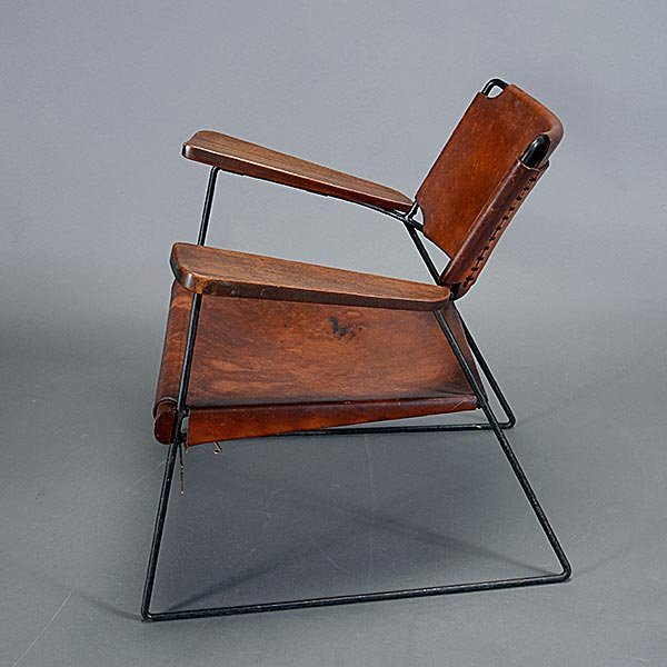 Rod Iron & Leather Side Chair.  Wood Arms California - 3