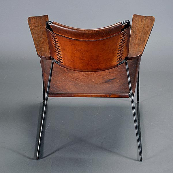 Rod Iron & Leather Side Chair.  Wood Arms California - 4