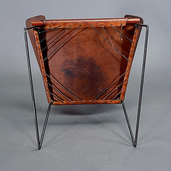 Rod Iron & Leather Side Chair.  Wood Arms California - 5